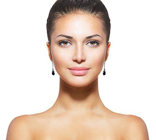 Jugendstil Ohrringe mit Kristallen von Swarovski® Damen - Silber Viele Farben - NOBEL SCHMUCK (Jet) -