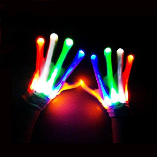 Blinkende Handschuhe Electro LED Multi-Color Leuchten Halloween Tanz Rave Party Spaß (Top 10 Halloween-film-zeichen)