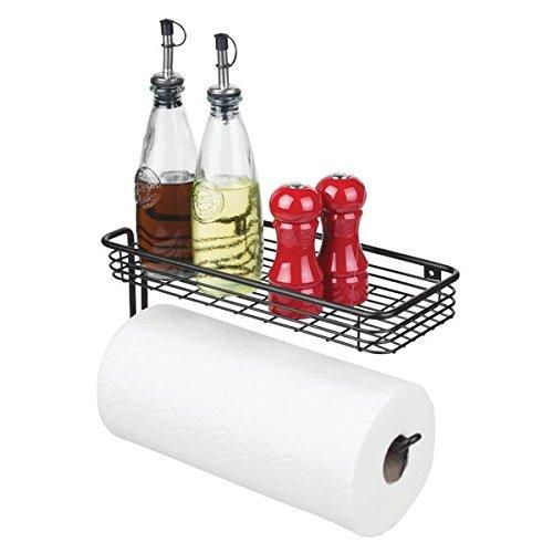 mDesign Portarrollos de papel de cocina de pared con especiero – Moderno...