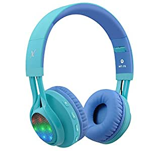 Riwbox WT-7S Bluetooth Headphones, LED Lingt Up Foldable Stereo wireless Headphones with Microphone and Volume Control for PC/iPhone/ TV/ iPad (Blue&Green)