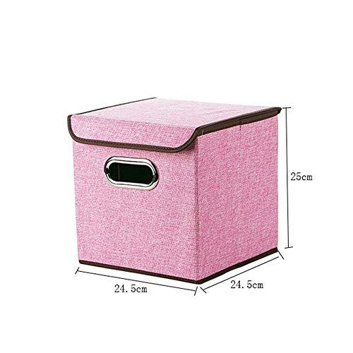 LABAICAI Faltbare Kleidung Aufbewahrungsboxen Baumwolle Leinen große Office Diverses Spielzeug Veranstalter mit Deckel Falten Lagerplätze Organisation (Color : 24.5X24.5X25CM) (Spielzeug Veranstalter Lagerplätze)