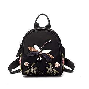 41vBfm0z5bL. SS300  - Eshow Mochila Bolso de Mano Negro para Mujer de Oxford Viaje Casual Escolar Uso Diario Moda