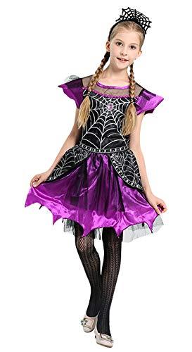 Halloween Spinnenkönigin Kostüm - Cloud Kids Spinnenkönigin Kostüm Mädchen Halloween Spiderella Kostüm Kleid mit Spinnenstirnband Verkleidung Lila Körpergröße 110-120cm