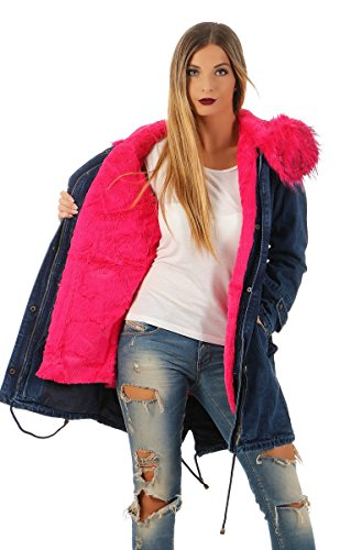 Fashion4Young Winter Parka Damen Winter Jacke XXL Mantel Kunstfell Kapuze Camouflage od. Jeans Jeans-Rot