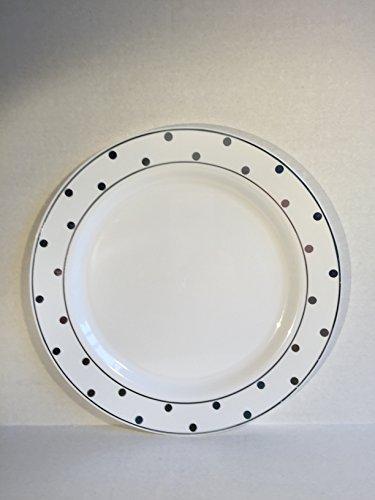 ium Schwergewicht Kunststoff 26cm Abendessen Teller Set von 10weiß mit silber Punkten ()