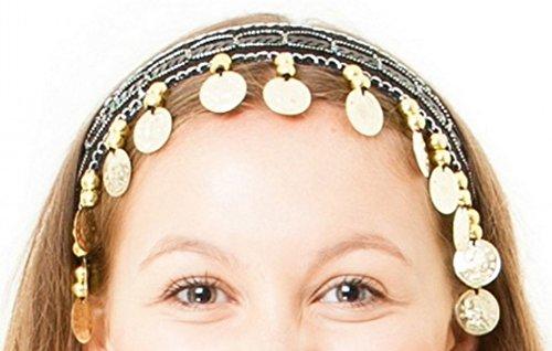 The Turkish Emporium Bauchtanz Kopfbedeckung Kopfband Haarband Tiara Accessoire (Schwarz/Gold)