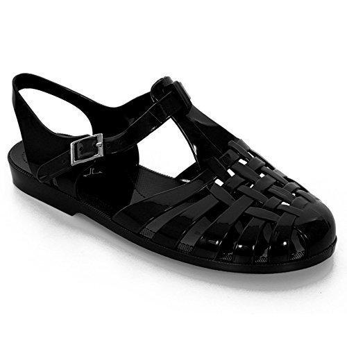 Sapphire Boutique - Sandali Estivi da Donna Blocco Piatto Flip Flop in Gelatina Nero Tacco Piatto