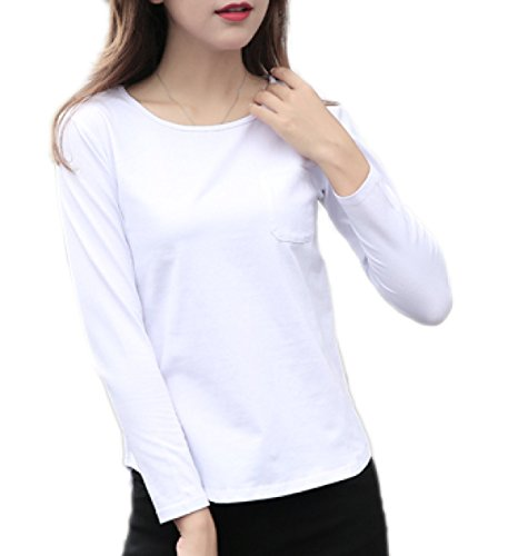 Mesdames Lâche T-shirt En Coton à Manches Longues Tops Soft Fashion Casual Tops Pull white