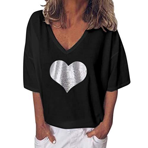 Pullover Sweatshirt für Damen,Kobay 2019 Halloween Heiligabend Weihnachten Frauen Sommer Kurzschluss Hülsen lose beiläufige Plus Größen Normallack Blusen T Shirt übersteigt Strickjacke -
