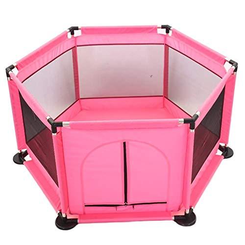 6 Panel Kinder Aktivitätscenter Indoor Bodenmatte, Extra Large Twin Baby Indoor Outdoor Sicherheit Spiel Zaun, Raumtrennung Spielzimmer 4 Farben (Color : Pink) -