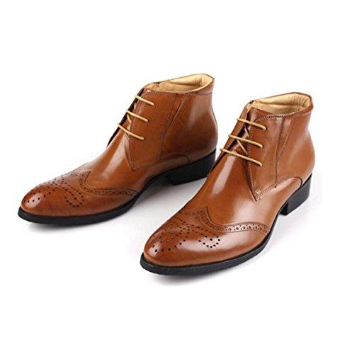 Uomini Alti Per Aiutare Gli Stivali Alti Per Aiutare Gli Uomini Con Scarpe Di Cuoio Affari Scarpe Da Uomo Abiti Stivali Brown