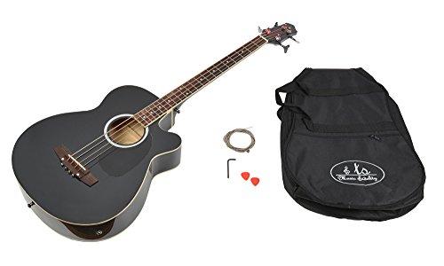 ts-ideen Akustik E-Bass Gitarre EQ Pickup Tonabnehmer Bassgitarre mit Tasche und Zubehör