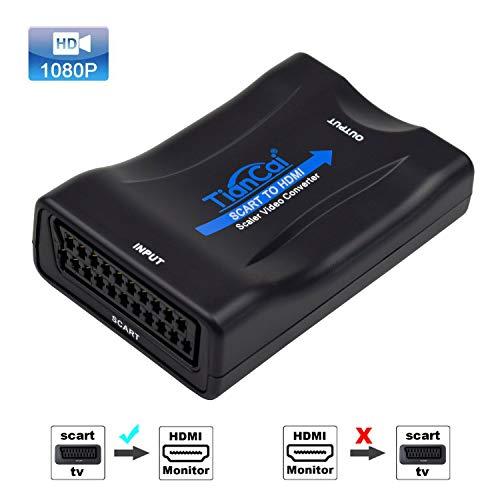 Tiancai SCART zu HDMI Konverter Adapter 1080P (Nicht für 4K Geräte) SCART zu HDMI Adapter SCART Eingang HDMI Ausgangs Adapter für Sky Blu-Ray Player HDTV DVD PS3/PS4