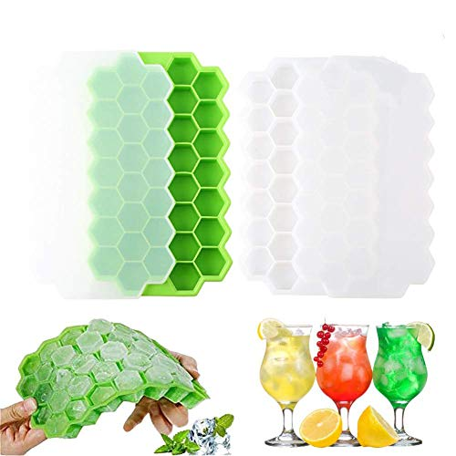 Ic Mould® 2 Stück Waben-Silikon-Eiswürfelform 37 Gitter Eiswürfelform für Familie, Party, Bars, Chilling Bourbon Whiskey, Cocktail, und Getränke (Cube Recyceln)
