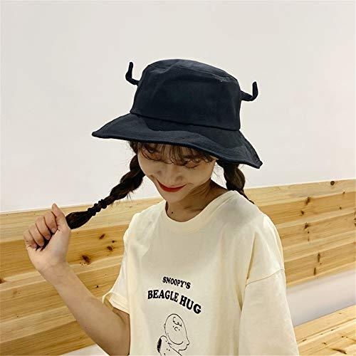 Koreanische Version von chic Neue Nette Spitze Ohren Fischer Hut weibliche Trend Student Becken Hut Sommer Outdoor Sonnenhut schwarz M (56-58 cm)