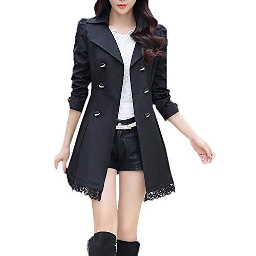 Sunnyuk Damen mäntel mit Zweireiher Gothic lang jacken für mädchen Slim-fit großer-Kragen Jack für Teenager | elegant Klassische
