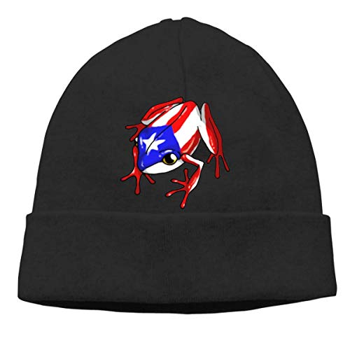 Coqui Puerto Rican Flag Warm Stretchy Solid Daily Skull Cap Knit Wool Beanie Hat Outdoor Winter