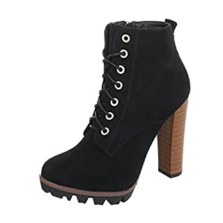 High Heel Stiefeletten Damen-Schuhe High Heel Stiefeletten Pfennig-/Stilettoabsatz High Heels Reißverschluss Ital-Design Stiefeletten Schwarz, Gr 40, 118-1-1-