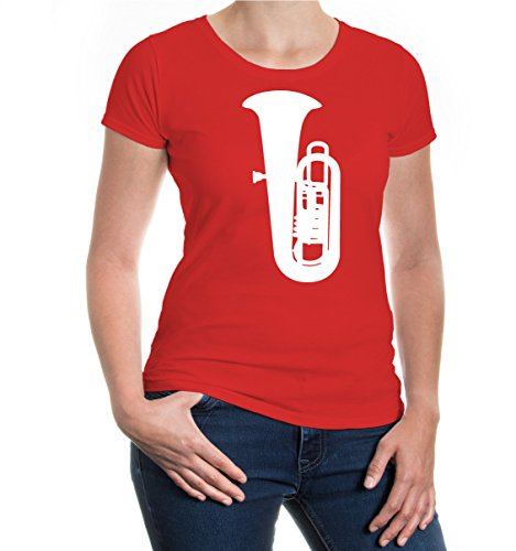 buXsbaum® Girlie T-Shirt Tuba Red-White