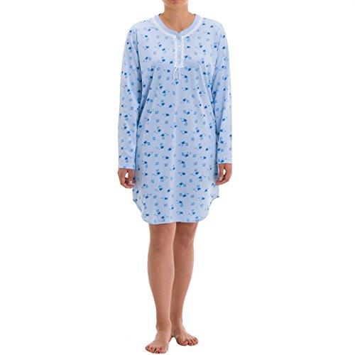 Zeitlos Nachthemd Amelie Langarm mit Verzierter Perlmuttknopfleiste und Spitzenverzierung Druck Nachtwäsche Sleepwear, Farbe:Hellblau, Größe:2XL