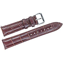 26mm Brown Wide Leather Watch Straps Genuine Top Grain Calf Skin for Men's Big Wristwatches Grosgrain Crocodile Embossed