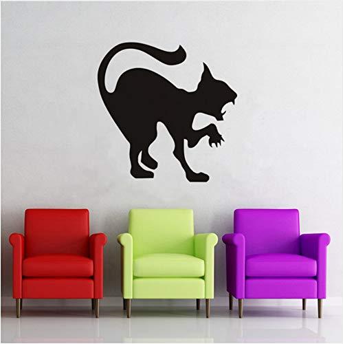 er Schwarze Katze Wandaufkleber, Halloween Flugzeug Cartoon Fensterglas Aufkleber, Hot Kinder Vinyl Home Decor Scary Cat Schablone Decals 59X59 cm ()