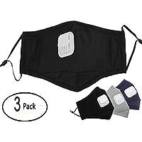 Mundschutz 3 Stück Baumwolle Staubmaske Wiederverwendbar Atemschutzmaske mit Ventil Anti-Beschlag Anti-Staub Gesichtsmaske... preisvergleich bei billige-tabletten.eu