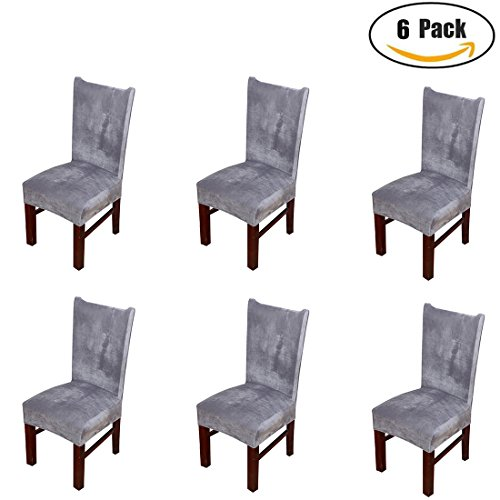 Pinji 6PCS Stretch Thicken Chair Covers Slipcovers Removable Seat Protector for Hotel Restaurant Wedding Party Home Dining Room Grey