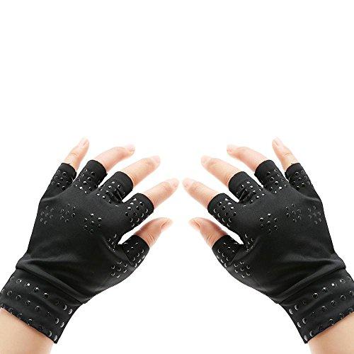AOLVO Arthritis Handschuhe Fingerlose Kompression Handschuhe für rheumatischer & Arthrose, Frauen/Man schwarz Hand Handschuhe bieten arthritischen Gelenkschmerzen Symptom Relief-Ein Paar. -