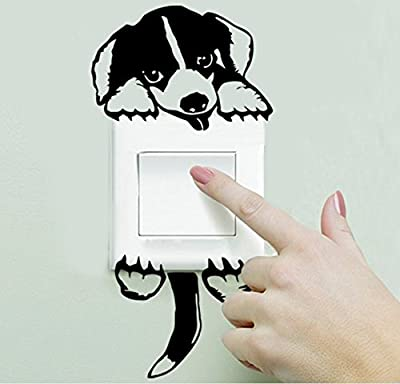 Ecloud Shop® Cute Cartoon Dog Removable Waterproof Funny Home DIY Light Switch Vinyl Wall Decal Wall Stickers 2pcs Set