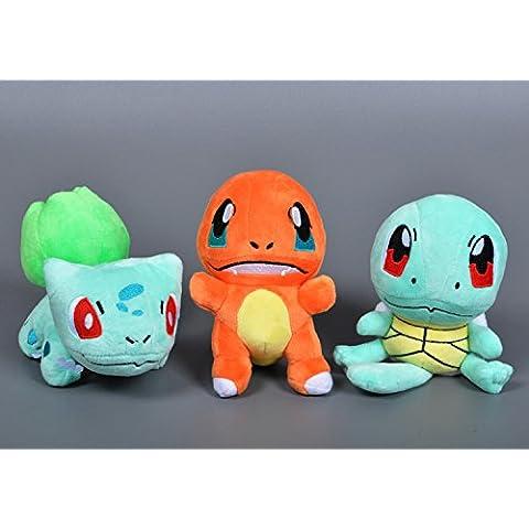 Pokemon: Charmander, Squirtle y Bulbasaur felpa juguete de peluche (3Set)