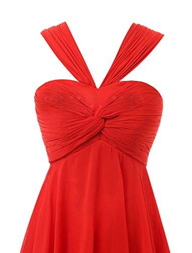Find Dress Elégant Robe Demoiselle d'Honneur Mariage Femme Plissé Robe pour Soirée/Cocktail/Cérémonie Courte à la Mode sans Manches en Mousseline Souple Orange