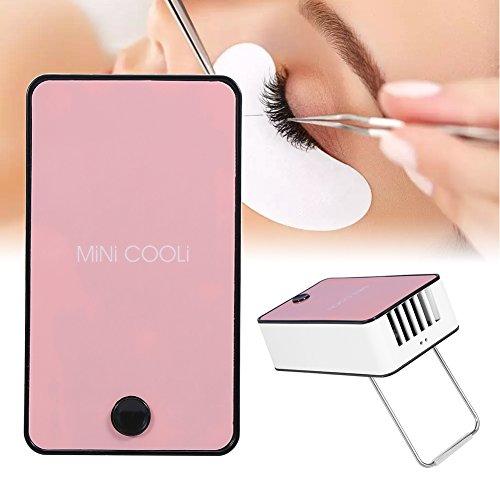 Mini ventola di estensione ciglia, essiccatore portatile per ventosa con innesto per colla di estensione a secco con condizionatore d'aria USB (rosa)
