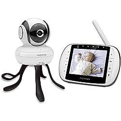"""Motorola MBP 36SC - Vigilabebés vídeo con pantalla LCD a color de 3.5"""", modo eco, visión nocturna y Moto StarGrip, color blanco"""