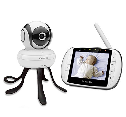 """Motorola MBP 36SC - Baby monitor video digitale con schermo LCD a colori da 3.5"""", modo eco, visione notturna e Moto StarGrip gratuito, bianco"""