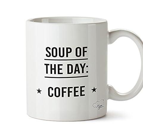 Hippowarehouse soupe du jour Mug à café 283,5gram Tasse, Céramique, blanc, One Size (10oz)