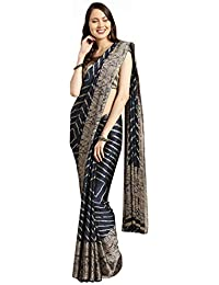 Womanista Women's Crepe with Blouse Piece 7510 Sarees (TKIM778_Blue & Beige_Free Size)
