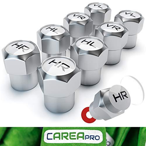 CAREApro ® Ventilkappen Auto mit Beschriftung (8er Set) im Rocket-Chrome-Look mit Dichtung - Intelligente Reifen Markierung - Rostfrei ABS-Kunststoff