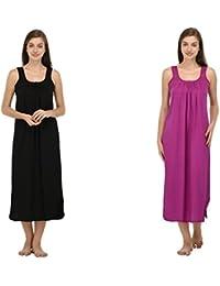 Ishita Fashions Cotton Gown Slip - Cotton Nighty - 2 PCs - Black and Purple