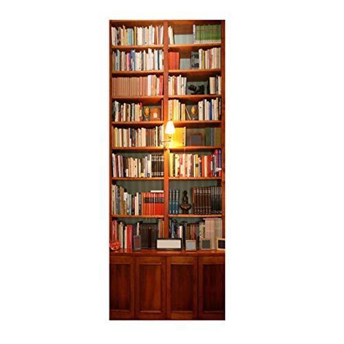 Kongqiabona Retro Buch Schranktür Aufkleber Bücherregal Tür Wandbild Tapete Aufkleber Abnehmbare Aufkleber Für Hauptdekoration -