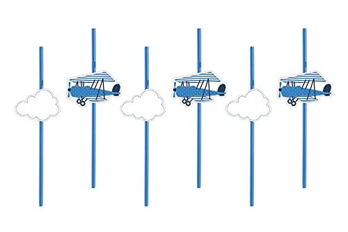 12pajitas Decorative Nubes y aereoplani Decoración–Little Plane Pajita, 24cm–Para Fiestas, fiestas, cumpleaños...