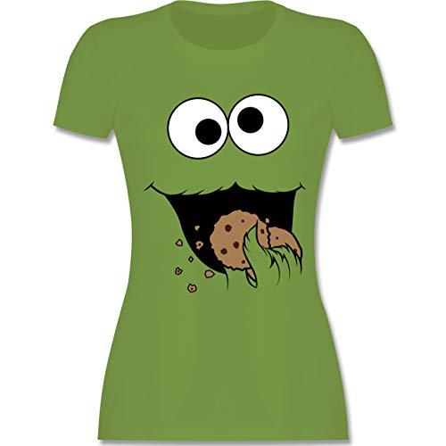 (Karneval & Fasching - Keks-Monster - XL - Hellgrün - L191 - Damen T-Shirt Rundhals)
