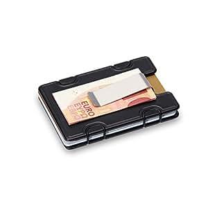 M1 Smart Aluminium Design Slim Wallet   Kreditkartenhalter mit NFC-Schutz   Anti-Kratz-Beschichtung   Platz für 1 bis 12 Karten   Minimalistische Geldbörse   Faire Produktion - Made in Austria   SCHWARZ