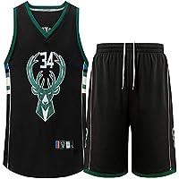 Conjunto de Traje de Baloncesto NBA Bucks # 34 Conjunto de Pantalones Cortos de Camiseta Bordada Conjunto de Pantalones Cortos de Baloncesto Jersey de Verano Uniforme de Baloncesto Poliéster S-3XL