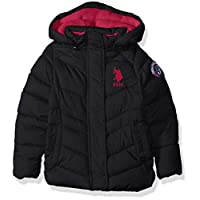 US Polo Association Girls' Toddler Hooded Bubble Jacket with Piping Detail, Black, 2T