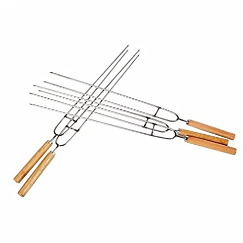Barbecue Grill Stainless steel non magnetic U type roast needle, barbecue chicken wings, fork wooden handle sign, barbecue barbecue tools, supplies accessories X5
