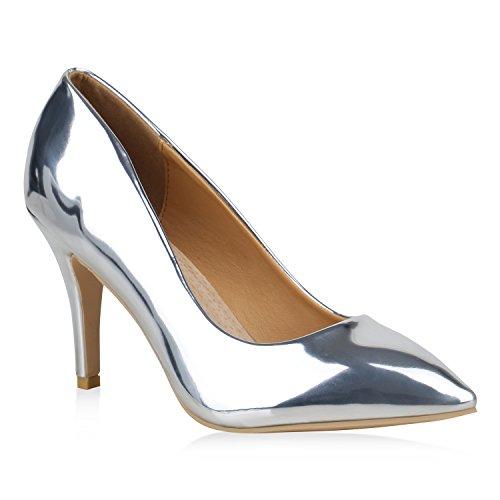 e93a81aede1d49 Stiefelparadies Spitze Damen Pumps Lack Metallic Party Schuhe Mid Heels  Übergrößen 156739 Silber 42 Flandell