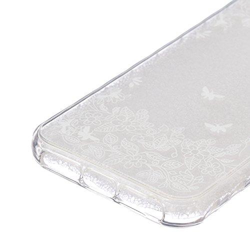 iPhone 5C Coque Silicone,iPhone 5C Coque Transparente,Coque Housse pour iPhone 5C,iPhone 5C Souple Coque Etui en Silicone,EMAXELERS iPhone 5C Coque Silicone Etui Housse,iPhone 5C Coque blanc Fleur Mod B Animal TPU 10