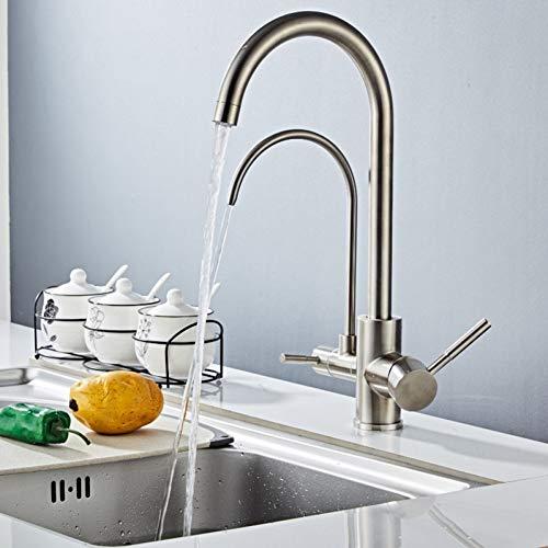 OEWFM Wasserhahn 304 Edelstahl Filter Küchenarmaturen Deck montiert Mischbatterie 360   Rotation Wasseraufbereitung Features Mischbatterie Kran