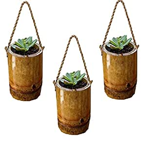 RAREPRODUCTS Rope Hanging Planter Set of 3 Pot with NailScrew Free -3 nos